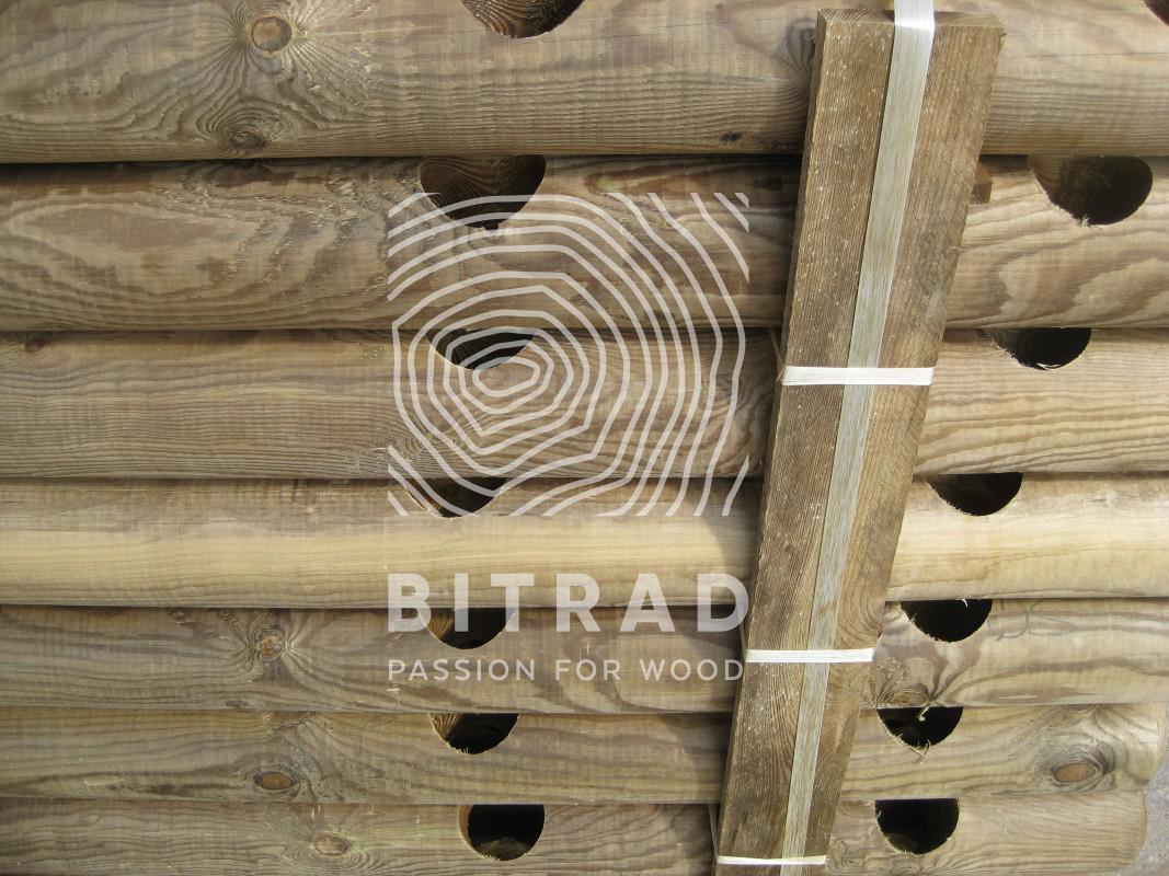 Rondins fraisés bois autoclave classe 4. PPHU Bitrad